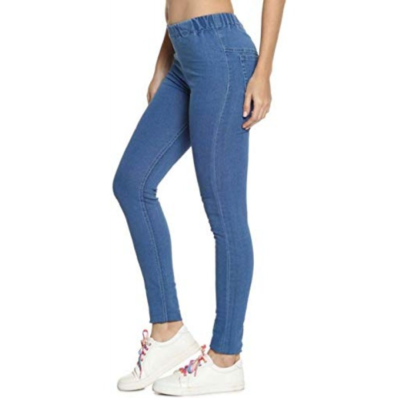 Buy Adbucks Women S Cotton Denim Jeggings With Elastic Waistband Amazon In Clothing Accessories Shopping Online Vogally In