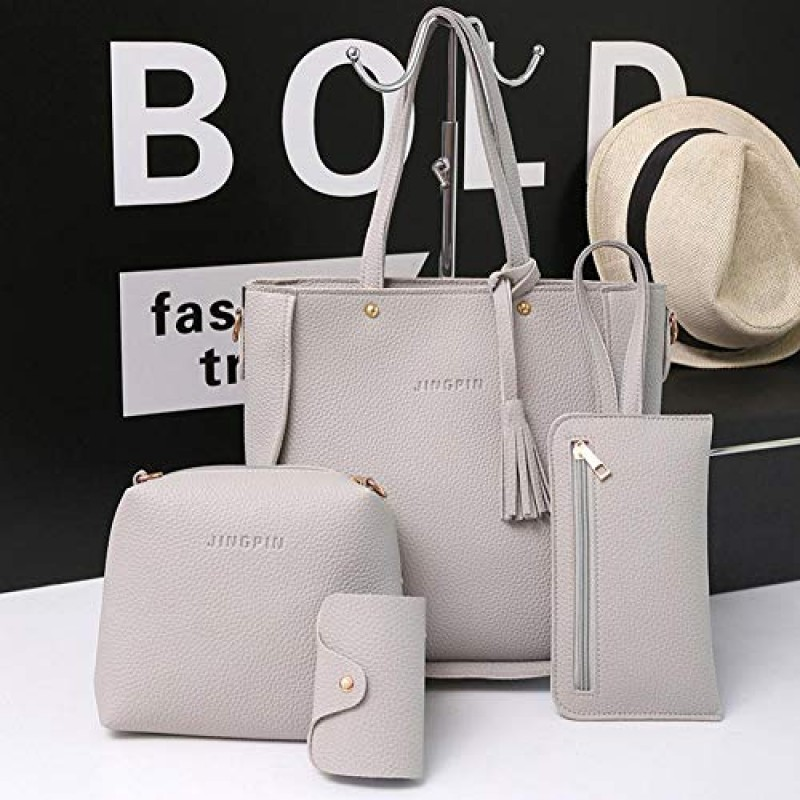 4pcs//set Litchi Leather Tassel Women Tote Shoulder Handbag Clutch Card Bags